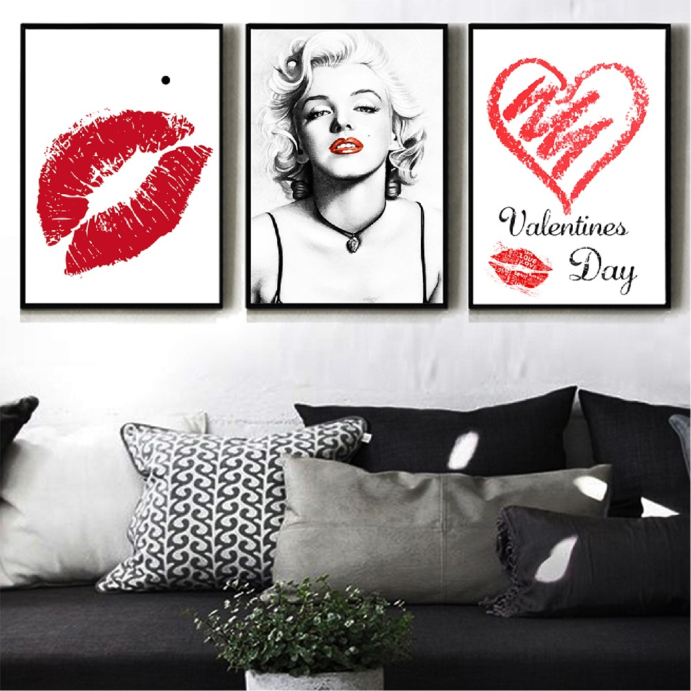NUOMEGE Marilyn Monroe Canvas Painting Poster Red Lips Wall Art Pictures For Living Room Black And White Home Decor Poster