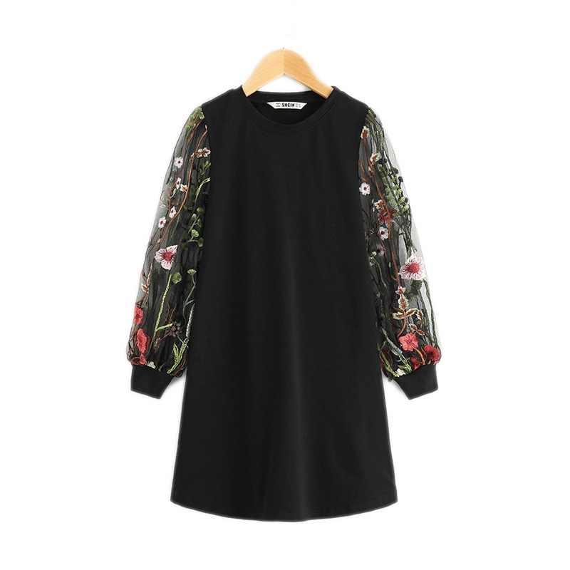 e5c45c2a49d7 SHEIN Las chicas negras de malla de largo bordado túnica de manga Casual  vestido de las