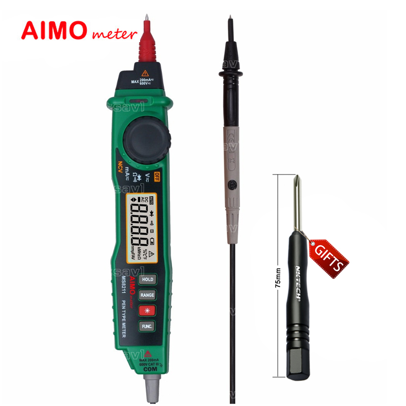 Aimometer MS8211 2000 Counts Autorange Handheld Digital Pen Type Multimeter with Probe ACV/DCV Electric Tester NCV Detector dt830b handheld digital multimeter electrician with a to send meter pen