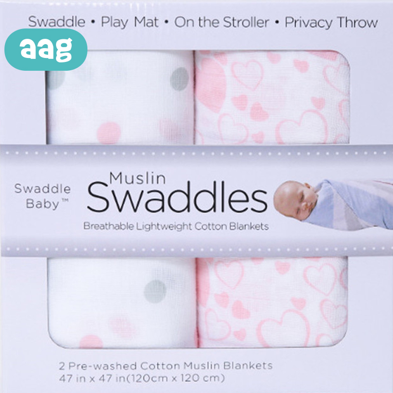 AAG 2Pcs/set baby muslin two-layer cotton towel Newborn Cover Blanket Beach Bath Towel Infant Swaddle Wrap Towels Blanket 30