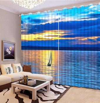 3D Curtain Printed Curtain Sunset And Sea Boat Scenery 3D Bathroom Shower Curtain Custom Any Size 3D Curtain Blackout