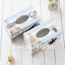 Средиземноморский стиль деревянный держатель для салфеток черный и белый стильная тканевая коробка креативный подарок украшение дома S2025