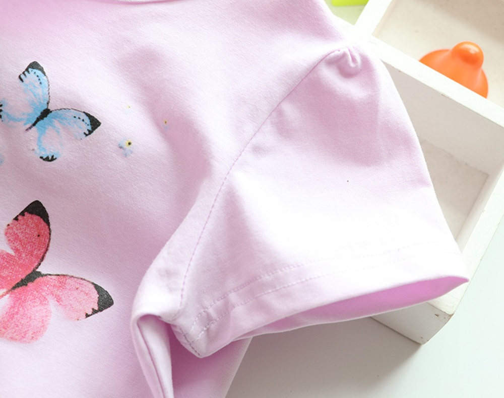 New Cotton Kids T-Shirt Children Summer Short Sleeve T-Shirts for Girls Clothes Cat Rabit Butterfly Baby T Shirt Toddler Tops 15