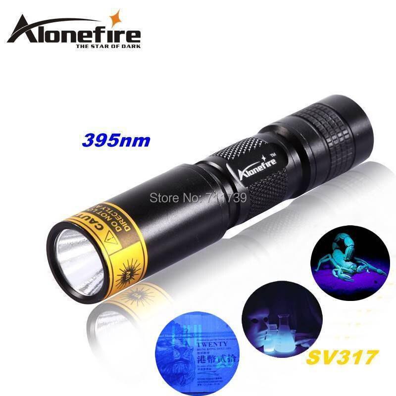 Alonefire SV317 395nm led UV mini lampe de poche torches lumière ultraviolette de détecteur lampe pour 1x AA / 14500 batterie rechargeable