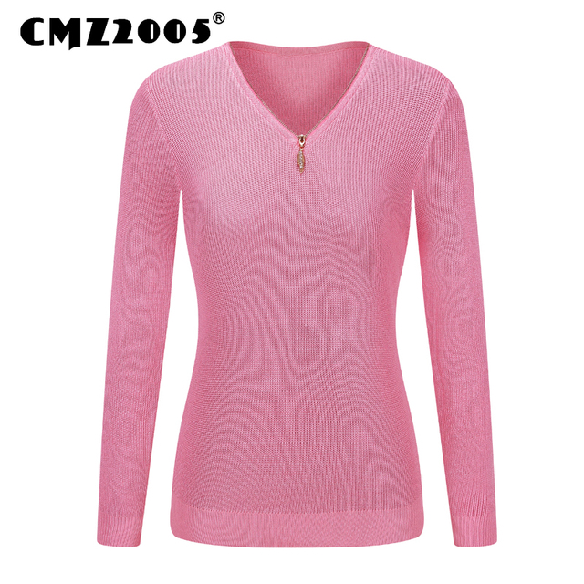Hot Sale New Style Women's Apparel Long Sleeve V-Neck Zipper Decorate Solid Color Fashion Winter Pullovers Knitted Sweater 16065