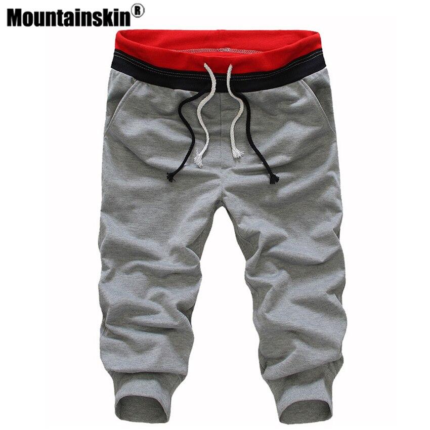 Mountainskin 2020 Summer Mens Leisure Calf Length Cropped Pants Man Drawstring Joggers Baggy Streetwear Thin 3XL JA366
