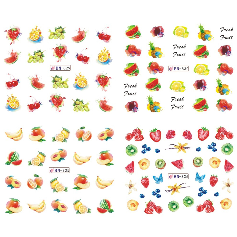 Image 2 - Mixed 12 Fruit Nail Sticker Set Lemon Water Decals Transfer Colorful Slider Tips Nail Art Watermelon Decor SABN829 840-in Stickers & Decals from Beauty & Health