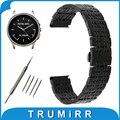 22mm faixa de relógio de aço inoxidável para o vetor luna/meridian butterfly buckle strap correia de pulso pulseira preta ouro rosa prata