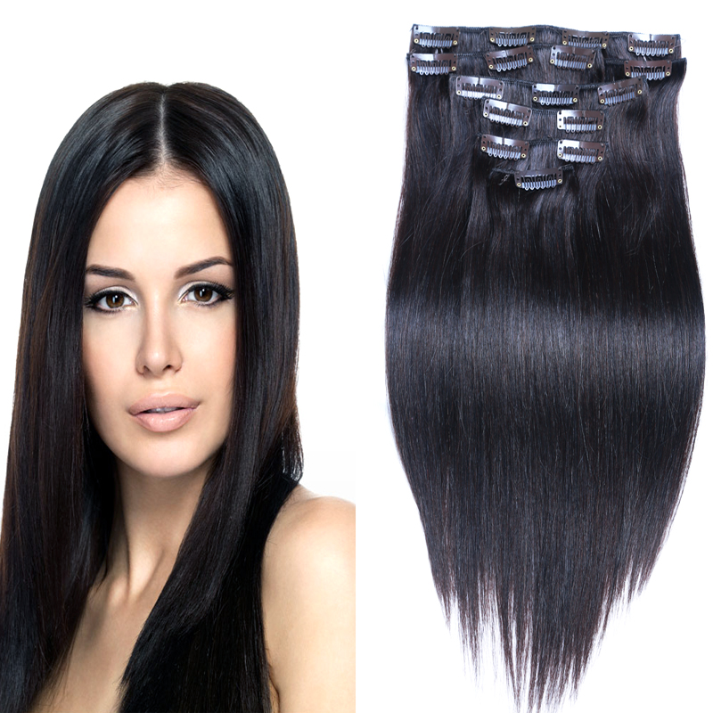 7a Brazilian Hair Clip In Extensions Straight Clip In Human Hair