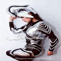 RE14 Singer stage show dress bar silver mirror costumes disco wears armor robot suit dj dance clothing perform ds headwear show