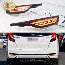2PCS For Honda Fit Jazz 2018 2019 12V Car LED Rear Fog Lamp Rear Bumper Light Brake Light Flowing Turn Signal Reflector недорого