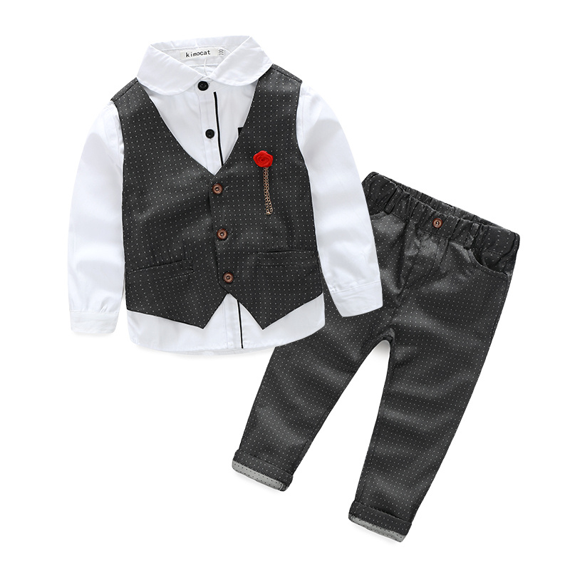 Boys Clothing Sets Autumn Spring Shirt + Vest + Pants Boys Wedding Clothes Kids Gentleman New Handsome 5 Colors Children Clothes