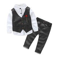 Boys Clothing Sets Autumn Spring Shirt Vest Pants Boys Wedding Clothes Kids Gentleman New Handsome 5
