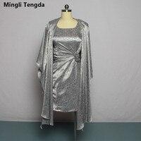 Mingli Tengda Mother of the Bride Dresses with Jacket Wedding Party Gray Pattern Dress Elegant Lady Bride Grandma Dresses Flower