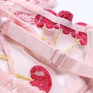 Image 4 - 女性の下着ピンクのブラとパンティーセット透明ブラセットランジェリーかわいい桜刺繍下着女性ブラジャー裏地なし