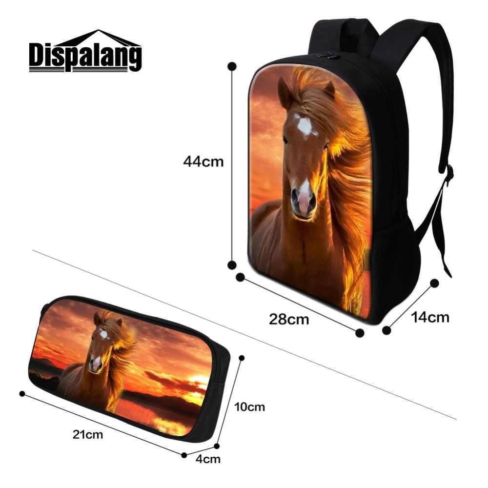 Legal cavalo mochila para meninos adolescente viagem bookbag estudantes universitários saco de escola isolado refrigerador bolsa animal lápis caso meninas