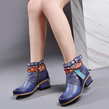 Original Genuine Leather Retro Thick Heels Martin Boots Handmade Ethnic Style Printed Strip Women Ankle Boots Plus Size 36-42 2019 handmade genuine leather shoes woman 5cm thick heels women boots martin boots fashion rivets ankle boots large size 42