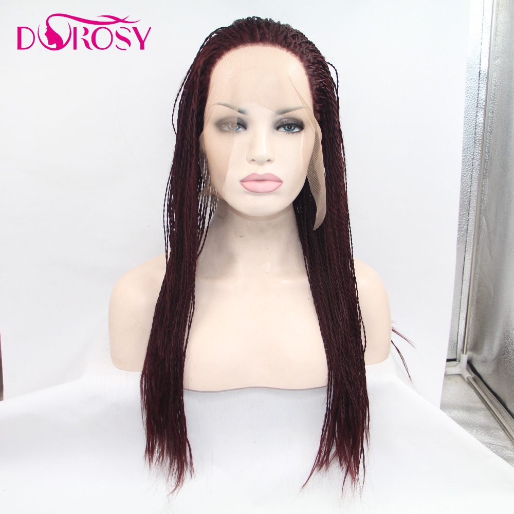 DOROSY HAIR High Temperature Burgundy Wig Long Straight Crochet Braids Synthetic Lace Front Wigs For Women