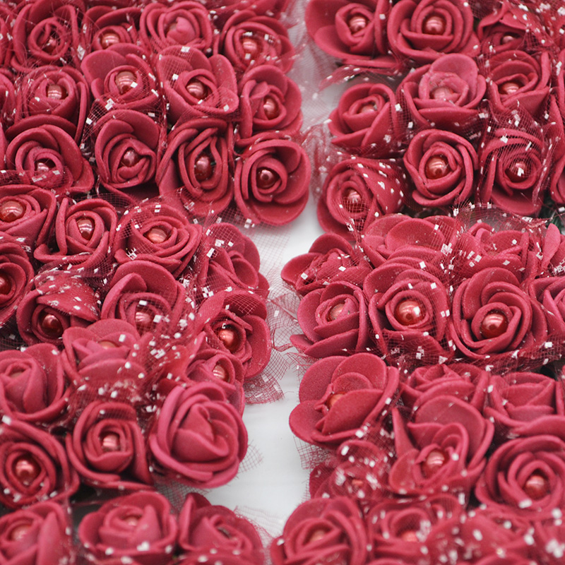 72Pcs Cheap Artificial Beads Foam Rose Flowers with Yarn for Wedding Party Arrangement Handmade Flowers Home & Garland Decor 65