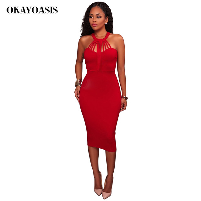 Women s Vestidos Bandage Dress 2017 Summer Hollow Out Halter Neck  Sleeveless Bodycon Dress Red Dinner Sexy Party Dresses 99c3c5f84c81