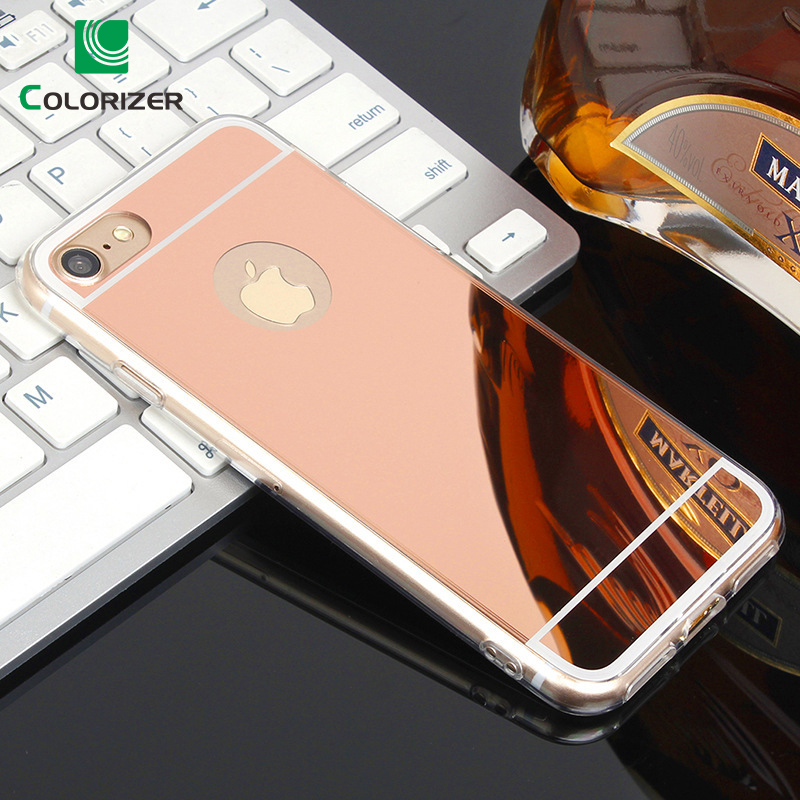 Fashion Ultra Slim Soft Case For iPhone X XS 7 8 Plus Clear Silicone Edge Mirror Back Cover For iPhone 5S SE 6 6S 7 8 Plus Case