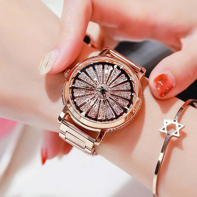 Super Beauty Rotation Women Watches Lady Top Luxury Rhinestone Casual Quartz Watch Female Stainless Steel WristWatch