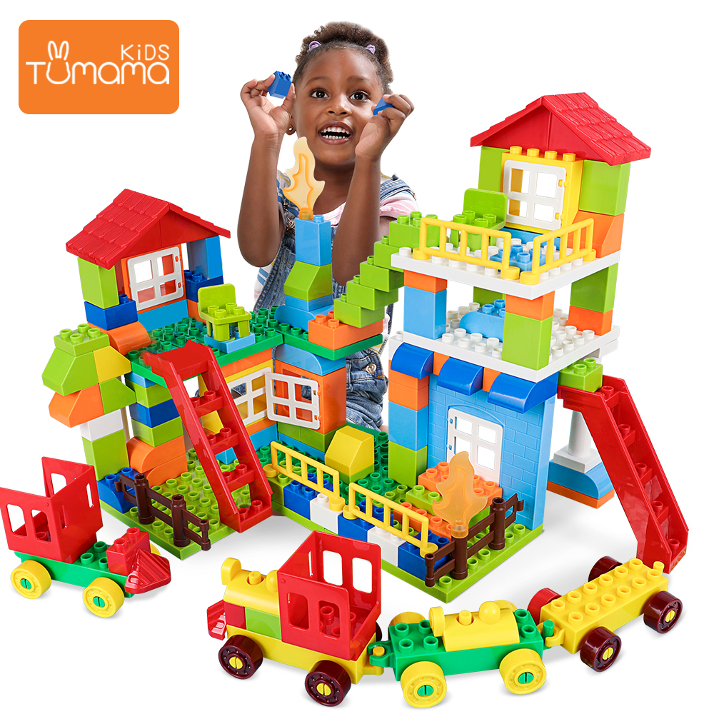 Tumama 76pcs City House Building Blocks Big Size Blocks Castle Robot Educational Toy For Kid Compatible House LegoINGly Duploedd