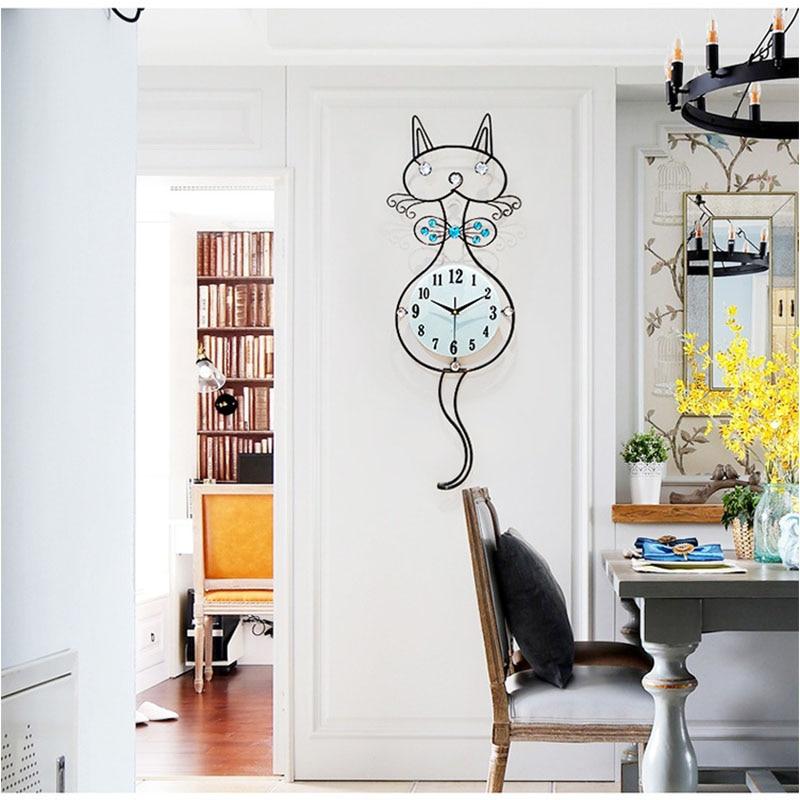 Grand chat horloge murale salon 3D horloge murale autocollant chambre numérique horloge murale Quartz Design moderne décor à la maison