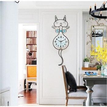Large Cat Wall Clock Living Room 3D Wall Clock Sticker Bedroom Digital Wall Clock Quartz Modern Design Home Decor