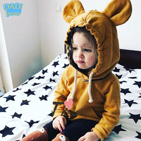 Kids Boy Pullover Hooded Bunny Sweatershirt Big Bear Ears Hoodies Cotton Hoodied Tops For Children Clothing