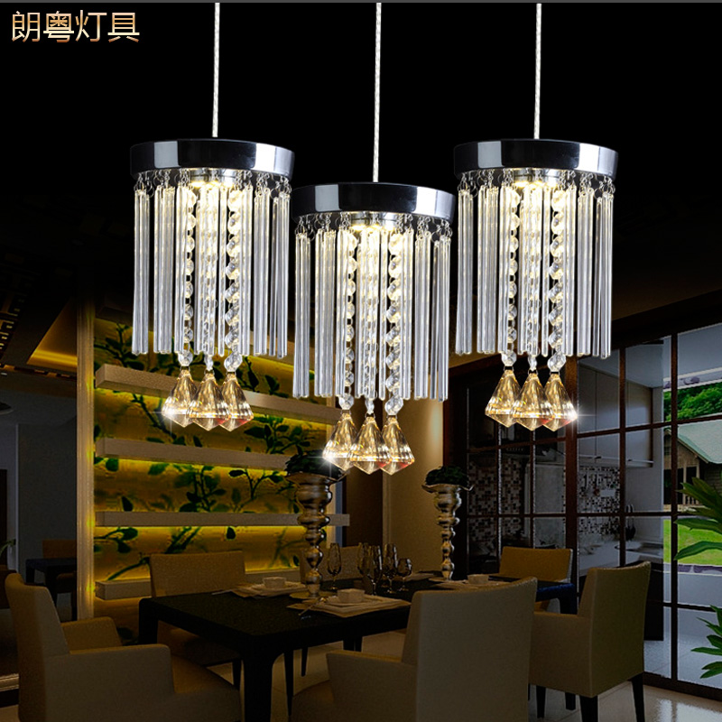 LED round crystal lamp pendant lights single head simple modern lamp head three Restaurant Bar character ZCL zx modern round acryl pendant lamp simple restaurant led chip droplight single head study bar shop office lamp free shipping