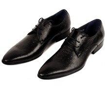 european style genuine ostrich grain leather mens fashion qshoes business dress casual shoes men personalized shoe ym203-502-5