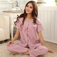 Women Pajamas Summer Short Long+Pyjamas Trousers Cotton Pajamas Women's Sleep Lounge Pajama Sets Plus Size 4XL