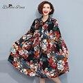 2016 Women's Autumn Dresses Elegant Flower Printing Cotton and Linen Plus Size Women Shirts Dresses(BelineRosa TYW087)
