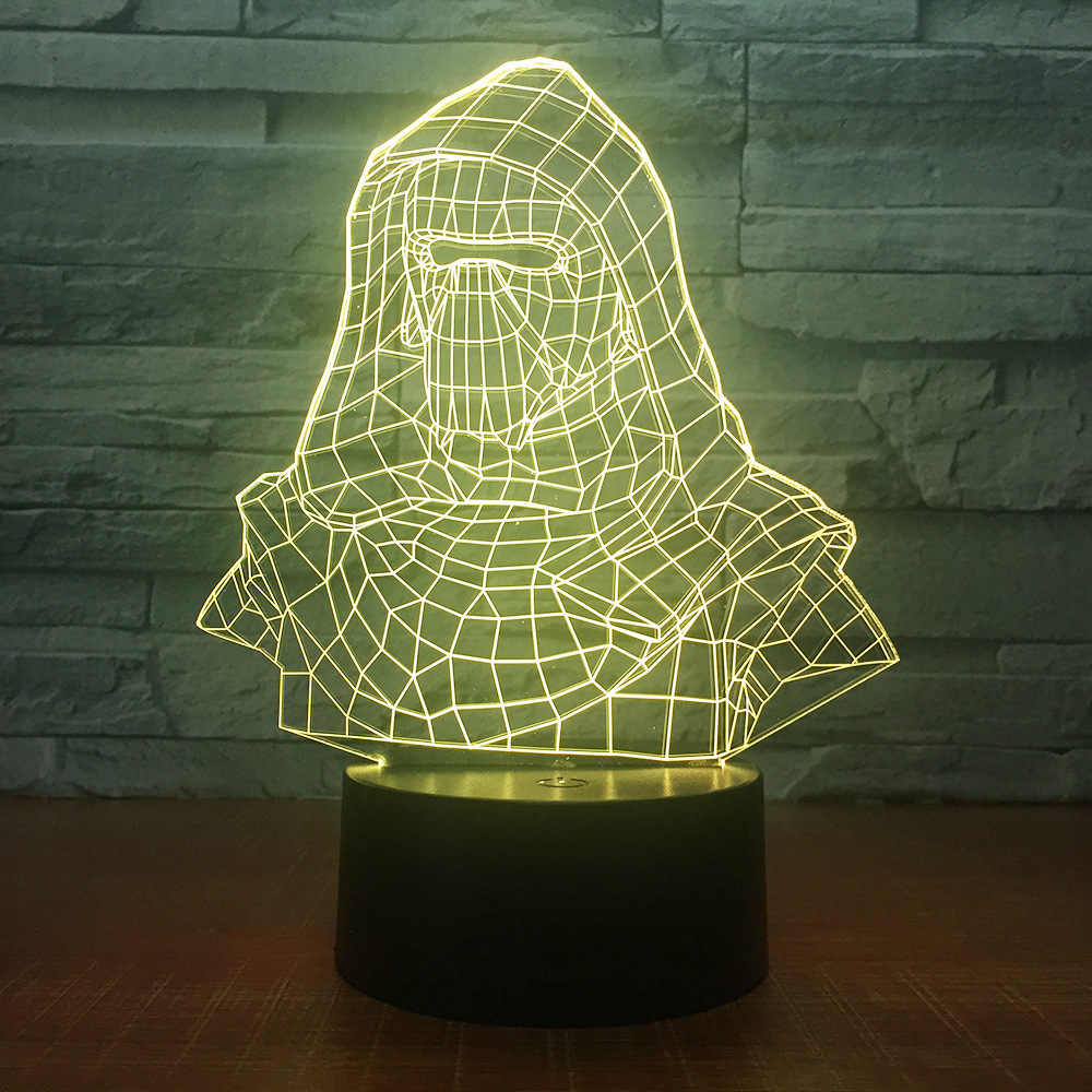 New Home Decor Darth Vader หมวกกันน็อกอะคริลิค 3D Night โคมไฟข้างเตียง LED Light 7 สีเปลี่ยน Dropship