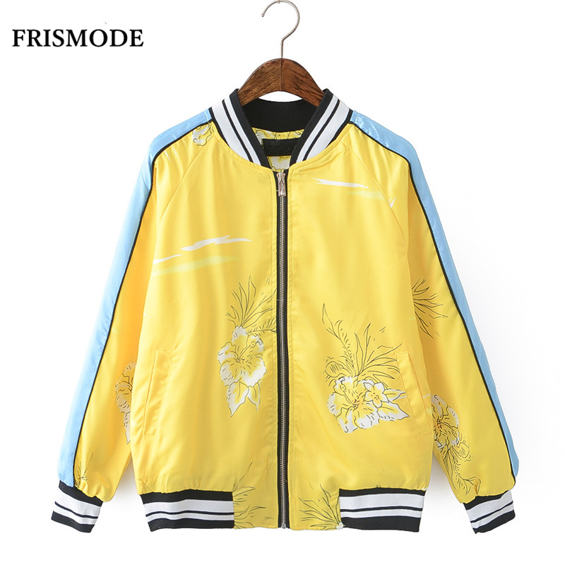 Floral Print Tiger Embroidery Yellow Bomber Jacket Women Basic Coats