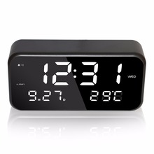 Large Jumbo Digital LED Music Alarm Clock with 25 Midi Songs Clear Mirror Display with Month Date Week Temperature AC or USB