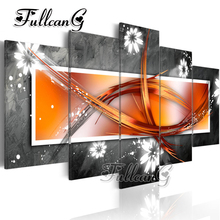 FULLCANG diy 5 pieces diamond painting abstract line art full square/round drill 5d rhinestone embroidery kits decor FC120