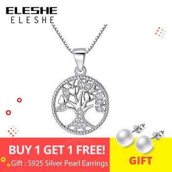 efb87180caa8 ELESHE Aliexpress Venta caliente 100% de Plata de Ley 925 de la familia  Árbol de la vida colgante collares para mujeres regalo de joyería de moda