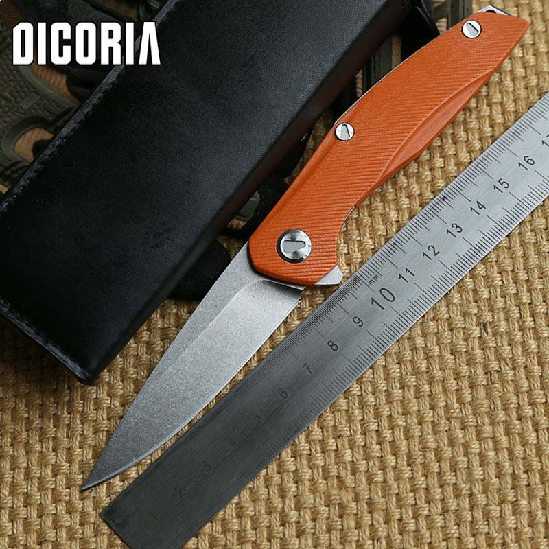 DICORIA F111 D2 blade G10 handle folding blade Flipper ball bearing hunt Tactical  knife camp survival outdoors knives EDC tool front