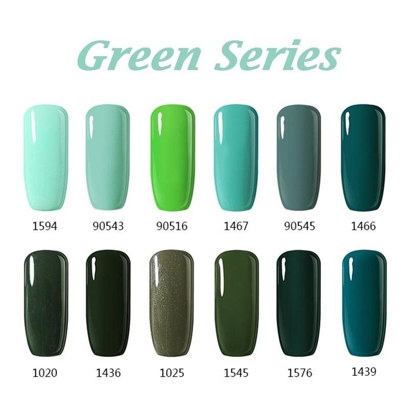 12pcs/Lot Colors Series UV Gel Nail Polish 10ml Green Pink Nude ...