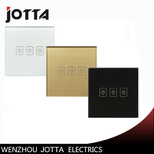 Gold/Black/White 3 Gang 2Way Touch Switch Screen Crystal Glass Panel Switches EU Wall Light Switch For LED lamp mvava 3 gang 1 way eu white crystal glass panel wall touch switch wireless remote touch screen light switch with led indicator