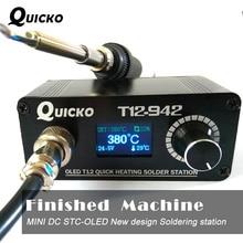 MINI T12 OLED lehimleme İstasyonu elektronik kaynak demir 2018 yeni tasarım DC sürüm taşınabilir T12 dijital demir T12 942 QUICKO