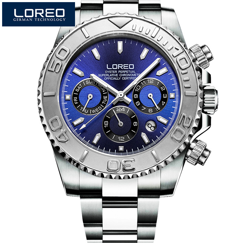 LOREO kol saatleri Men Luxury Luminous Wristwatches Stainless Steel Mechanical Watches Military Business Watch Gift For Men P03 loreo watches men 2017 luxury luminous waterproof sports mechanical wristwatches fashion gold full steel hollow business watch