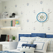 Mediterranean style children's room wallpaper Non-woven fabric wallpaper Bedroom Background wall Cartoon Navigation wall sticker eykosi 5pairs non woven fabric water drop forefoot sticker for women high heels flattie