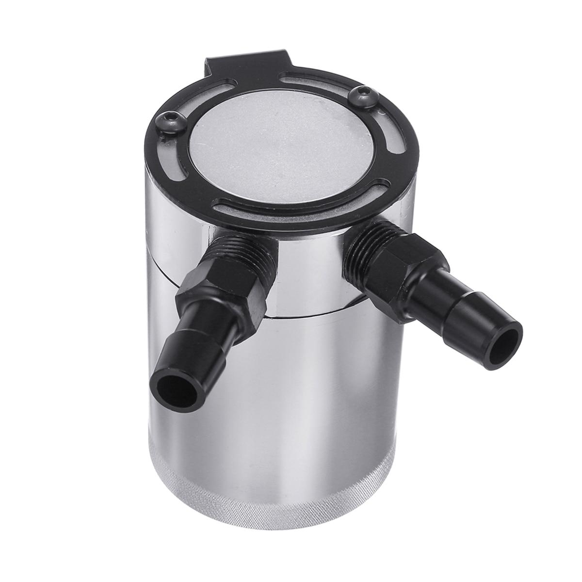Araba Kompakt Şaşkın 2-Port Alüminyum Yağ Yakalama Can Rezervuar Tankı Yağ Yakalamak Can Yakıt Tankı Parçaları Iki delik nefes Su Isıtıcısı