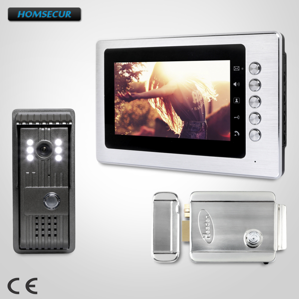 HOMSECUR 7inch Video Door Intercom System Electric Lock with Keys Included for Apartment   XC003+XM705HOMSECUR 7inch Video Door Intercom System Electric Lock with Keys Included for Apartment   XC003+XM705