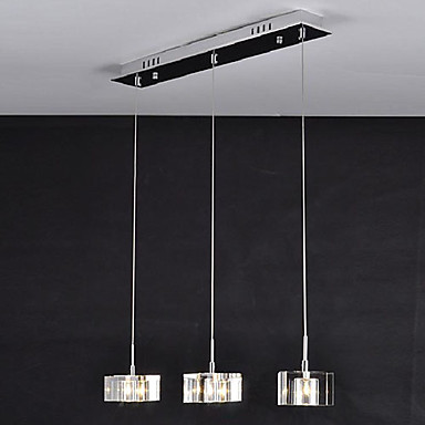 Luminaire Handing LED Modern Pendant Light Lamp with 3 lights In Crystal Shades For Living Dinning Room Free Shipping
