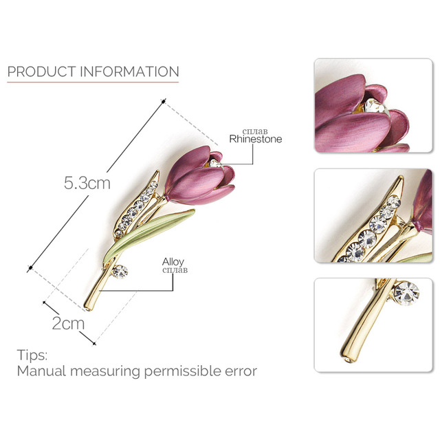 Elegant Tulip Flower Brooch Pin  Crystal Costume Jewelry Clothes Accessories Jewelry Brooches For Wedding