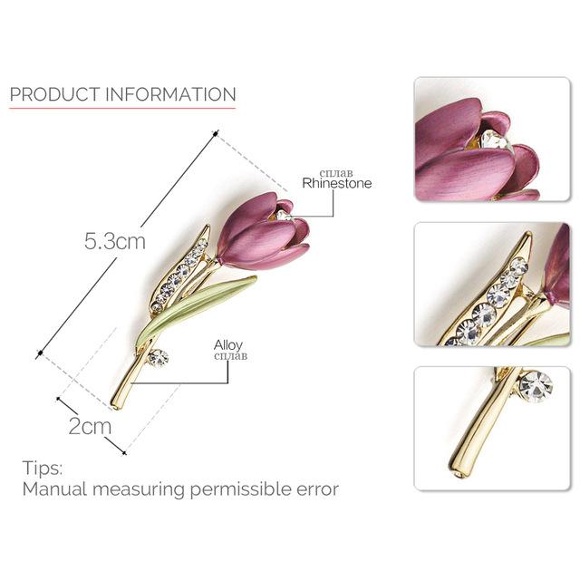 Elegant Tulip Flower Brooch Pin